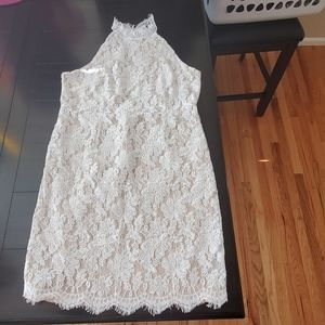 Beautiful lace dress with nude underlay!